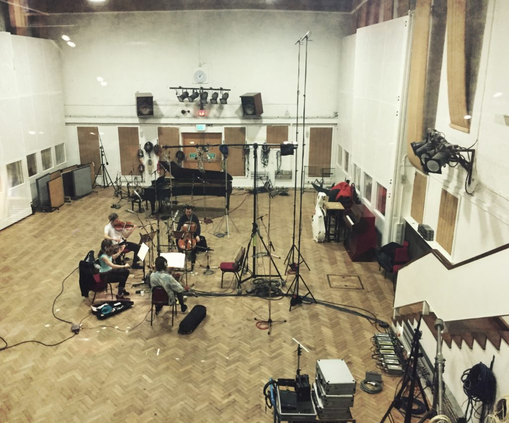 String quartet recording at legendary Abbey Road Studio 2 for 'Ronaldo'
