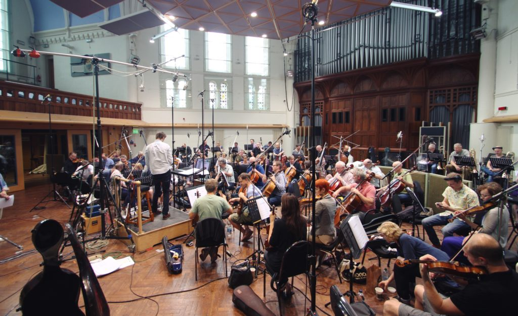 Orchestra recording at Air Studios for movie 'District 11'